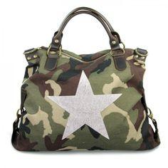 mynewbag.de - #IO.IO.MIO. Ital. Damentasche Leder Canvas Mix großer #Shopper #Stern #camouflage