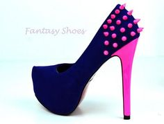 neon shoes with pink heel and studs