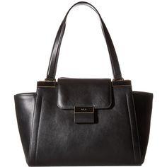 LAUREN Ralph Lauren Lynwood Carine Shopper (Black) Handbags ($348) ❤ liked on Polyvore featuring bags, handbags, tote bags, shopper tote, leather hand bags, leather totes, zipper tote and leather zipper tote