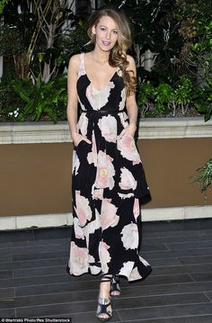 Floral and floaty: The tiered frock from Sam & Lavi featured a bold pink Peony design...