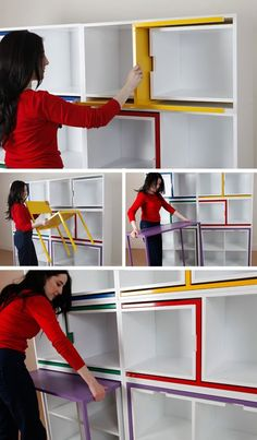 Chairs from Nowhere by Orla Reynolds. Secret table and chairs hide in shelves. -  OMG Best Idea Ever!!!! :D :D