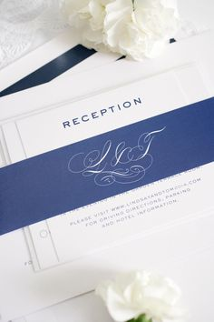 Classic Vintage wedding invitations with navy blue accents | Shine Wedding Invitations