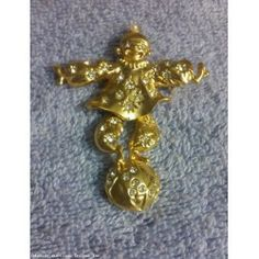Vintage Rhinestone Reticulated Moving Clown Balancing on a Ball Pin Brooch