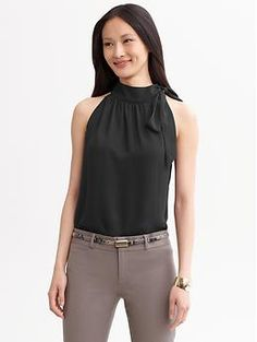 Sandra tie-neck blouse | Banana Republic
