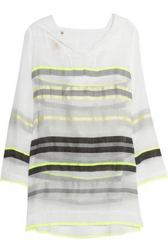 lemlem Bathsheba cotton-blend gauze hooded tunic Lemlem, Resort Wear, Black Stripes, Casual Chic, Beautiful Outfits, Bikini Tops, Hoods, Style Me, Personal Style