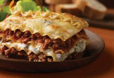 You can feed up to six people with this hearty lasagna recipe featuring ground beef in a creamy mushroom sauce layered with pasta, cheese and Italian tomato sauce.