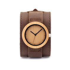 Men's Bamboo Watch on Cowhide Wrist Cuff