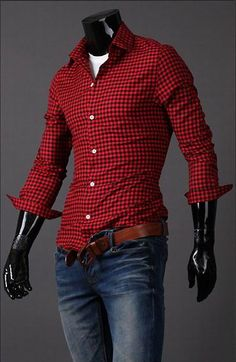 Classic Tiny Check Polyester Spring Shirt For Men (RED,M) China Wholesale - Sammydress.com