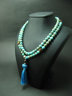 Free Shipping, 108 Mala Beads, Turquoise color Variscite & Tiger Eye Beads, Boho Jewelry, Yoga Jewelry, Mala Bead, Bohemian Necklace