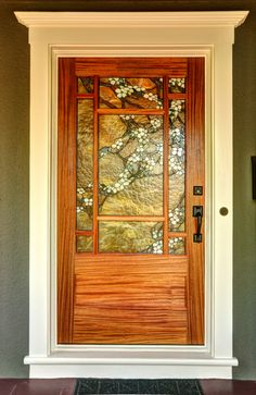 Everything made of Glass Craftsman Style Doors, Craftsman Lighting, Craftsman Decor, Stained Glass Door, Stained Glass Designs, Leaded Glass, Brown Front Doors, Glass Art Pictures, Glass Installation