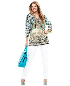 Spring Trend Report Plus Size VIP Prints Tunic Look - Plus Sizes - Macy's Plus Size Casual, Plus Size Outfits, Fashion Models, Fashion Outfits, Womens Fashion, Plus Size Boutique, Look Plus, Spring Trends, Summer Wardrobe