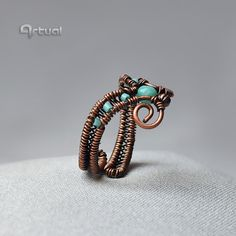 Wire ring copper jewelry gift for her adjustable ring by Artual