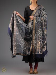 Buy Blue-Golden Tissue Bagru Printed Tassles Dupatta by Jaypore Online at Jaypore.com