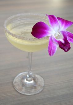 Floral French Cocktail   1.5oz. Beefeater gin  1oz. lemon juice   .75oz. Eldeflower simple syrup  ~ shake & strain  Top with Prosecco   Lavender Sugar Rim  Garnished with an edible flower    Created by A•T (Ariccia Trattoria) Bartender Ashley