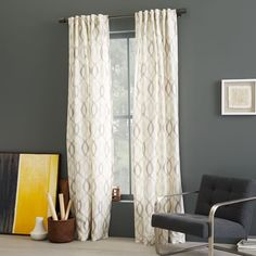 Pretty pattern but dry clean only:(. $149 Ikat Links Silk Curtain - Platinum | West Elm