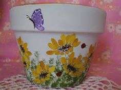 Decorative Hand Painted Clay Terracotta Flower Pot Yellow Daisies, Butterfly, Ladybug HandPainted im