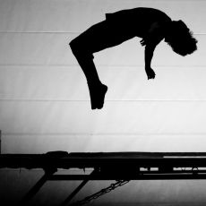 #Competitive #trampolining is when an athlete, such as a #gymnast, completes #acrobatic movements whilst on a #trampoline.