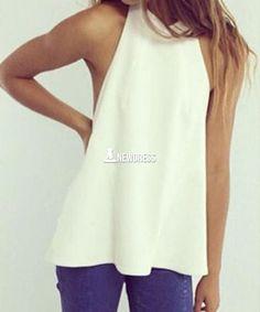 New Women Fashion Sleeveless Off Shoulder Sexy Backless Chiffon Casual Top Blouse Shirt