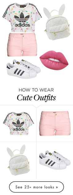 """My First Polyvore Outfit"" by lauri-sln on Polyvore featuring adidas Originals, H&M, adidas, cutekawaii and Lime Crime"