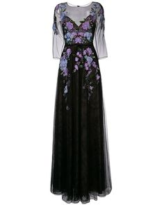 Notte by Marchesa | Black Floral Embroidery Gown | Lyst