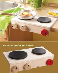 Haba Play Cooker | Wooden European Stove cooktop for Kitchen Pretend Play