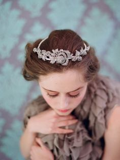 Bridal rhinestone headpiece - Rhinestone rose and leaf tiara - Style 112 - Made to Order.