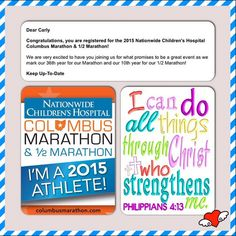 "cjm4laugh: ""I'm a 2015 athlete! Participating in my 4th Columbus Marathon & Half Marathon in October. Raising the bar and setting a goal to finish the Half Marathon in 2 hours! ""I can do all things through Christ who strengthens me."" Philippians 4:13 emojiemojiemojiemojiemoji️ #CMnation"" Brunswick, OH"