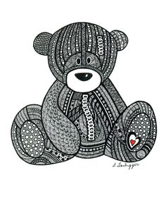 Black and White Zentangle Teddy Bear