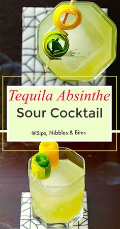 Tequila and Absinthe, two notorious alcohols with reputations for making those that consume them do crazy things. What could go wrong? In this case, nothing wrong and everything right! Sour Cocktail, Cocktail Tequila, Cocktail Drinks, Cocktail Recipes, Vodka Martini, Martinis, Tequila Drinks, Fruity Cocktails, Alcoholic Drinks