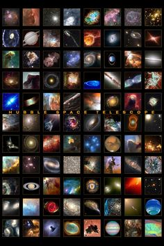 This is a fabulous astronomy montage, compliments of the Hubble Space Telescope named after modern pioneer and astronomer Edwin Hubble. Hubble Photos, Hubble Images, Hubble Pictures, Space Photos, Space Images, Hubble Space Telescope, Space And Astronomy, Sistema Solar, Deep Space