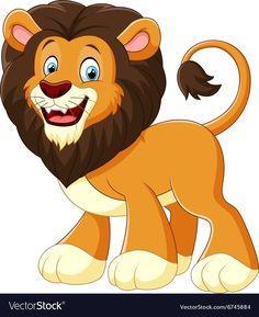 Lion cartoon vector image on VectorStock Baby Animal Drawings, Animal Sketches, Cute Drawings, Baby Animals, Funny Animals, Cute Animals, Cute Cartoon Wallpapers, Cartoon Pics, Animal Memes