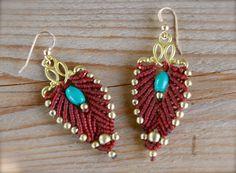 Verkauf gold rot und Türkis lange Makramee von yasminsjewelry