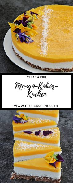 (Recipe) Raw delicious mango and coconut cake with chocolate crunch + news - Kuchen, Torten, Backrezepte - Best Food Cake Recipes, Vegan Recipes, Coconut Recipes, Mango Recipes, Coconut Cakes, Lemon Cakes, Roh Vegan, Vegan Raw, Chocolate Crunch