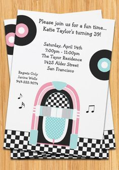 Personalize this pink, black and blue retro1950s sock hop style party invitation, just change the details of the party and youre done! Features pink and black checkered floor, jukebox, records and musical notes. ------------------- HOW IT WORKS ------------------- Our invitations