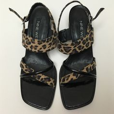 "Nine West Leopard Sandal Nine West Leopard Sandal. Square toe and heel. Leather and fabric. Very gently worn. 2-1/2"" heel. Smoke-free environment. Thanks for looking! 😽  😽 Will consider offers via offer button 😽 Not currently trading 😽 Items nicely packaged 😽 See u on IG Twitter & Tumblr @TheClosetKitten Nine West Shoes Sandals"