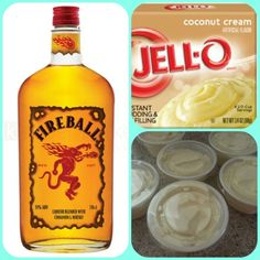 coconut instant pudding Cup Milk Cup Fireball Whiskey tub Cool Whip Directions Whisk together the milk, liquor and instant pudding mix in a bowl until combined. Add cool whip a little at a time wit Fireball Drinks, Fireball Recipes, Fireball Whiskey, Drinks Alcohol Recipes, Drink Recipes, Rumchata Pudding Shots, Jello Pudding Shots, Jello Shots, Cocktail Drinks