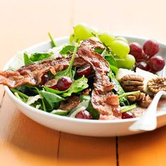 Spinach, Grapes, and Bacon--a fresh twist on the traditional bacon-spinach salad.