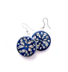 Each pair of ceramic Hearts on Fire FLAT Earrings is hand-painted and fired under high heat in Rajasthan, India. Fire Heart, Hearts, Hand Painted, Drop Earrings, Jewellery, Flat, Jewels, Bass, Schmuck