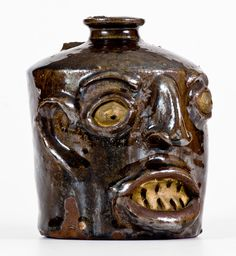 Miles Mill, Edgefield District, SC Face Jug w/ Painted Eyes and Teeth