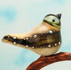 lampwork+birds | Bird bead. Handmade lampwork glass bird pendant. by glassdaft