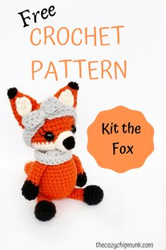 Kit the Fox. A free crochet amigurumi pattern from Say hello to Kit the Fox, my newest amigurumi design. Head over to my website to get the free pattern, available now! Crochet Fox Pattern Free, Crochet Patterns Amigurumi, Free Crochet, Free Pattern, Pattern Design, Crochet Baby Toys, Crochet Dolls, Crochet Yarn, Crochet Animals