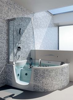Corner Bathtub Shower Combo- wrap stonework around a walk in bath and add shower hardware and glass?
