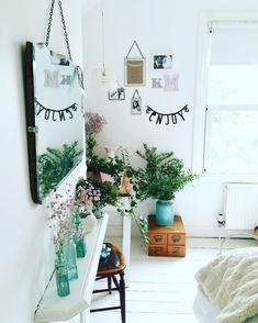 fun, bright bedroom with plants