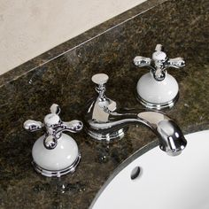 Tullamore Widespread Faucet   Porcelain Escutcheons U0026 Cross Handles