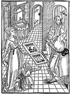 """""""Bad Example of Parents"""". This woodcut is attributed to the artist the Gnad-Her-Meister. It is an illustration from the book Stultifera navis (Ship of Fools) by Sebastian Brant, published by Johann Bergmann in Basel in Renaissance, Medieval World, Medieval Art, Medieval Jester, History Of Literature, Medieval Games, Sphinx, Dark Ages, 14th Century"""