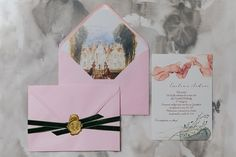 Lovely light pink, forest green velvet ribbon, wax seal for a royal wedding invitation. Ink background, delicate branches and elegant manor painting for the envelope liner. Royal Wedding Invitation, Wedding Stationery, Pink Forest, Envelope Liners, Velvet Ribbon, Wax Seals, Green Velvet, Personalized Wedding, Branches