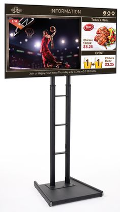 """Constructed with you in mind, this 65"""" digital sign set is the perfect advertising player for any high traffic or professional environment. Complete with a black stand, LED screen, and template software, this unit can display customized menus, promotions, or other media with ease. Place the floor standing sign set in windows or other high foot traffic areas for maximum exposure to passersby. Each LED screen is commercially rated to be left on and used for extended periods of time. The… Software, Environment, Advertising, Template, The Unit, Floor, Windows, Display, Sign"""