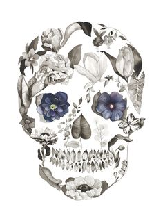 Sugar skulls - Hellebore by Sarah Voyer watercolor flower skull Floral Skull Tattoos, Sugar Skull Tattoos, Pretty Skull Tattoos, Skull Thigh Tattoos, Skull Tattoo Flowers, Neue Tattoos, Body Art Tattoos, Caveira Mexicana Tattoo, Boys With Tattoos