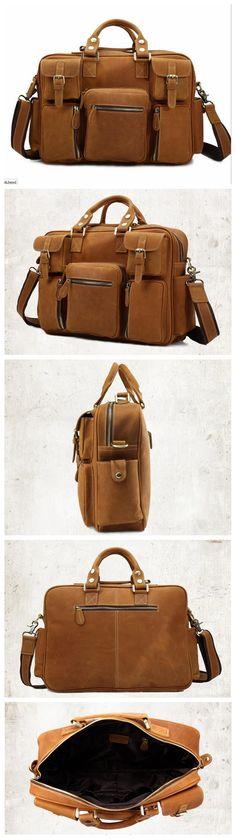 """Men's Distressed Briefcase 14"""" Laptop Handbag"""
