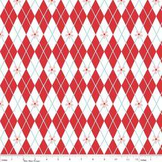 Fabric Riley Blake Sugar & Spice Argyle Red by TweetnSassyFabric, $9.50